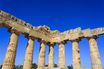 Doric Colonnade of the Greek Temple E at Selinus in Selinunte - Sicily, Italy