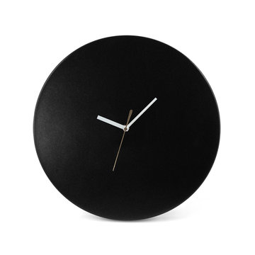 Black simple round wall clock - watch isolated on white backgrou