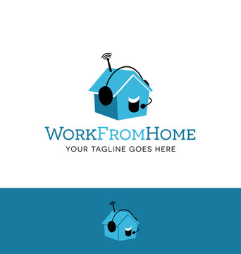 logo design for employment agency or home business. talking house icon with headset.