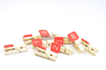 Wooden Clothespin on white background