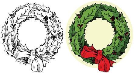 Christmas holiday holly wreath decoration