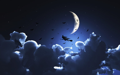Halloween background with witch flying through a moonlit sky