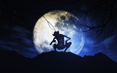 Fototapete - 3D Halloween background with creature against moonlit sky