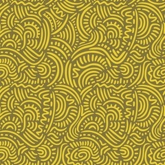 Yellow Doodle Lines Seamless Pattern