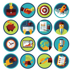 Set of modern flat icons. Business and finance.