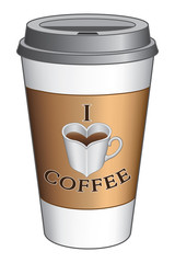 I Love Coffee To Go Cup is an illustration expressing the love of coffee on a to go cup. Includes a heart shaped cup or mug.