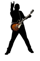 silhouette of a rock guitarist playing an electric guitar