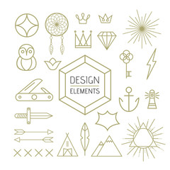 Design element set outline line art shapes