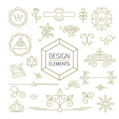 Design element set mono line art ornamental nature