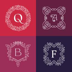 Ornament monogram mono line floral frame set