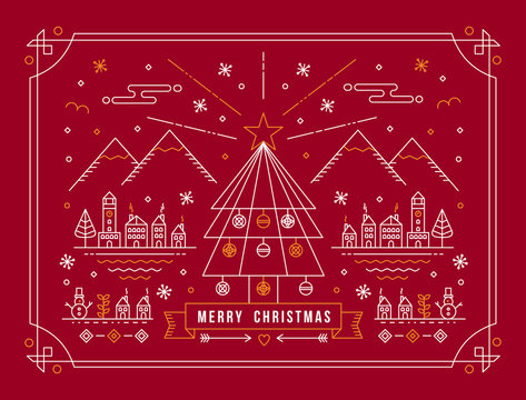 Merry christmas outline tree city winter poster