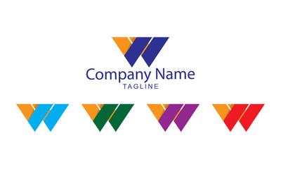 W Letter Logo Vector - Flat Paper Folds Design