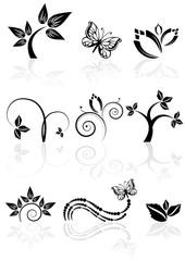 Monochrome nature icons, nine graphic plant florals, vector illustration