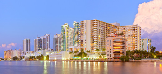 Hollywood Florida, buildings at sunset reflected in the water