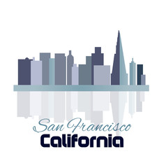 San Francisco blue skyline building logo icon sticker