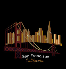 Golden San Francisco California label logo icon sticker