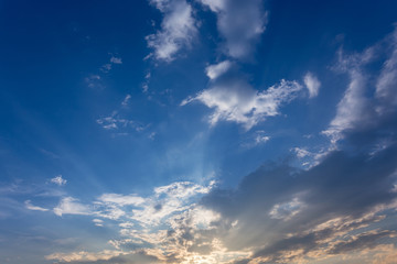 blue sky with cloud, beautiful sunset sky background