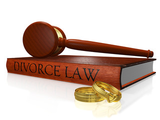 Divorce Law Book Gavel and Wedding Bands