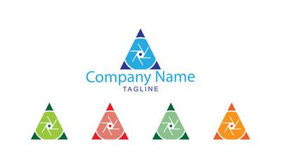 Photography Logo Vector - Triangle Shutter cam design