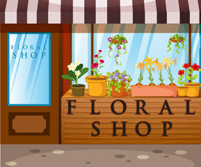 Floral shop with beautiful flowers in front