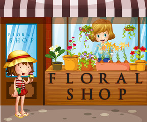Floral shop with seller and customer