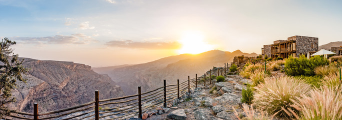 Jabal Akhdar in Al Hajar Mountains, Oman at sunset. It extends about 300 km northwest to southeast, between 50-100 km inland from the Gulf of Oman coast.