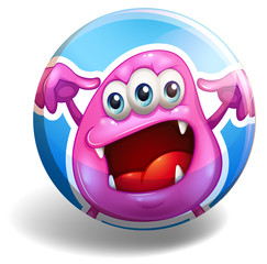 Pink monster on round badge