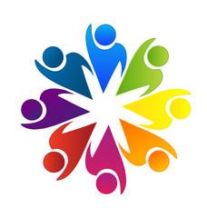 Logo teamwork rainbow color vector icon