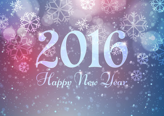 Happy New Year 2016 with Snowflakes on Bokeh Light Background