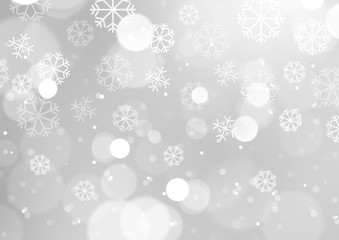 Abstract Lights with Snowflakes on Grey Background