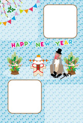 ポップな猿と鏡餅のお正月年賀状フォトフレーム