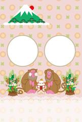 申年の猿と富士山の年賀状写真フレーム