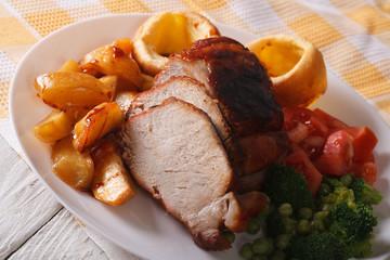 Sunday Roast on the plate closeup. horizontal