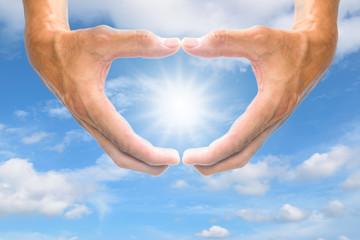 Heart shaped hand symbol.