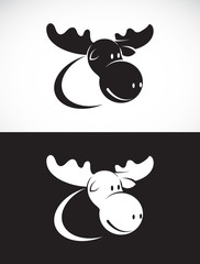 Vector image of moose design on white background and black backg