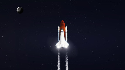 High resolution image of Space shuttle taking off on mission