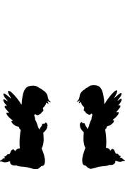 Zwei Betende Engel Silhouette