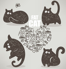 fat cat, doodle vector collection