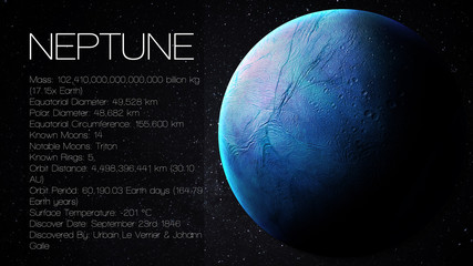 Fototapete - Neptune - High resolution Infographic presents one of the solar