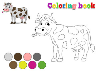 Coloring book cow kids layout for game