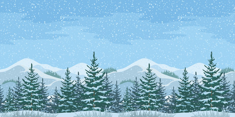 Seamless Christmas Winter Landscape