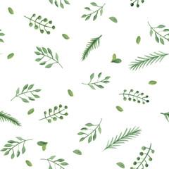 watercolor leaf seamless pattern