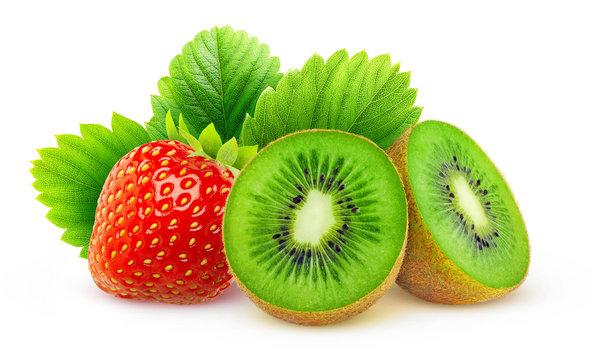 Kiwi and strawberry isolated