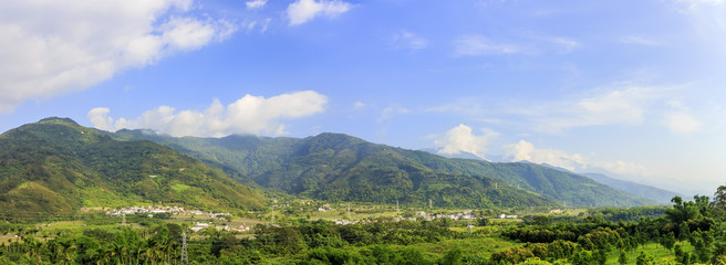 Panorama view of Taitung country side