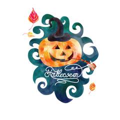 watercolor pumpkin day Halloween