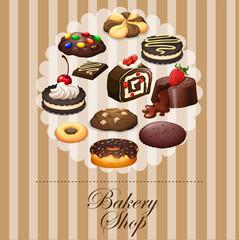 Diverse dessert on banner