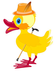 Duckling in hat with walking stick