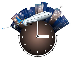 Airplane flying around the clock