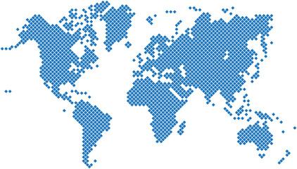 Foto op Plexiglas Wereldkaart Blue square world map on white background, vector illustration.