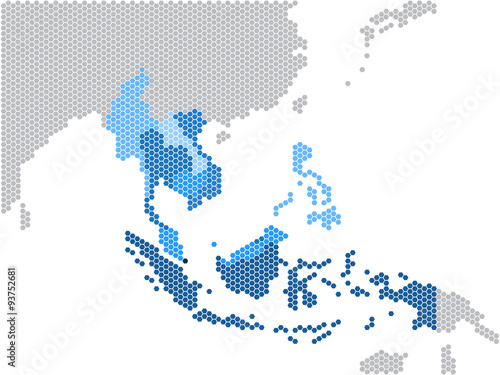 Hexagon shape south east asia and nearby countries map vector hexagon shape south east asia and nearby countries map vector illustration gumiabroncs Gallery
